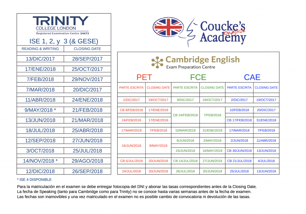 Fechas Trinity y Cambridge curso 2017/18