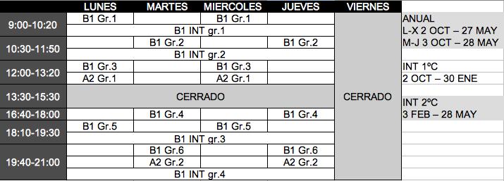 Horario cursos 2019/20 Academia La Macarena